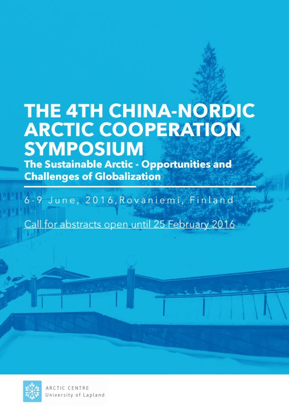 Reminder: Call for abstracts for the 4th China-Nordic Arctic Cooperation Symposium open until 25 February 2016
