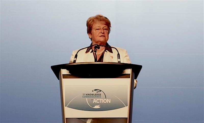 Gro Harlem Brundtland giving her keynote speech at IPY (Photo: Hjalti Þór - Arctic Portal)