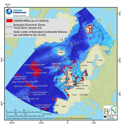 Map on MPAa, EEZa, Outer limits of continental shelves (as submitted to CLCS) in the Northeast Atlantic Map by Ospar)