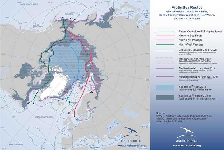 Arctic Portal Map - Arctic Sea Routes, Ice Conditions, EEZs, IMO Delimitations