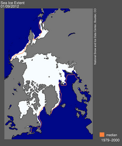 The satellite image shows the difference from the median ice edge and the ice today (Photo: NSIDC)