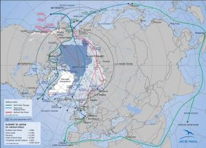 Map of Arctic sea routes and SAR areas (source: Arctic Portal)