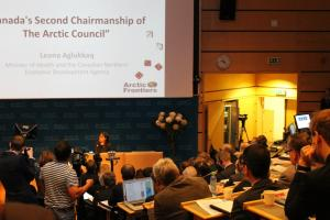 (Photo: Arctic Portal) Leona Aglukkaq, Minister of Health and the Canadian Northern Economic Development presents during the policy session