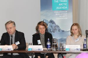 (Photo: The Arctic Portal) Dr. B. Karlsson, Dr. H. Exner - Pirot and Dr. N. Loukacheva during the first session of Systems and Societies workshop.