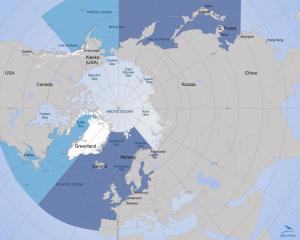 The sea divided into east and west. Click to enlarge (Map by Arctic Portal)