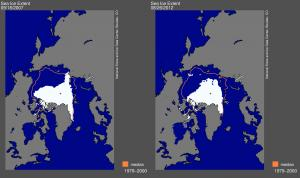 (Photo: National Snow and Ice Data Center) Extent of the sea ice registered 26th of August 2012