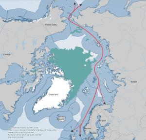 Click to expand. The Northern Sea Route. The light blue is the EEZ of the Arctic states and the green-blue color is the ice extent on September 16th 2012. Map from the Arctic Portal Mapping system.